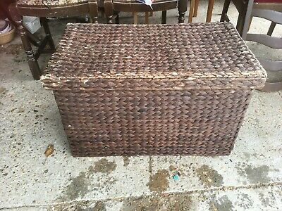 Brown Rattan Laundry Toy Storage Box & Lid with Detachable Liner