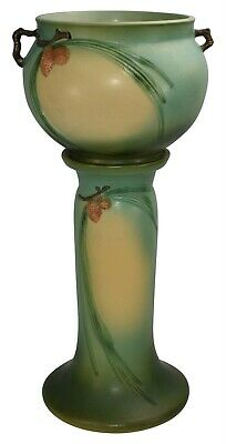 Roseville Pottery Pine Cone Green Jardiniere And Pedestal 402-8