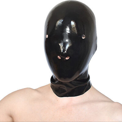 Anatomical Latex Mask in Black with Nasenlöcher Hood Rubber Rubberband