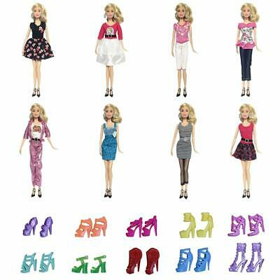 Lot 15 Items = 10 Handmade Party Dresses + 5 Pairs Shoes for 11.5 Inch Girl Doll