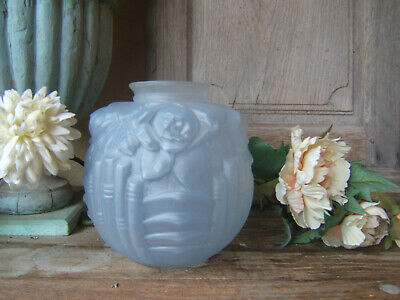 ANTIQUE FRENCH MOLDED BALL ROSES GARLAND VASE BLUE GLASS  ART DECO Ca 1930