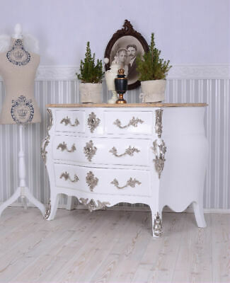 Chest of Drawers Baroque Style White Shabby Chic France Marble