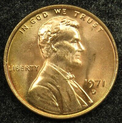 1971 D Uncirculated Lincoln Memorial Cent Penny BU (B05)