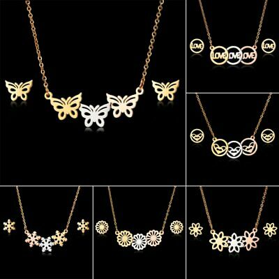 Fashion Stainless Steel Womens Hollow Pendant Necklace Earrings Jewelry Set Gift