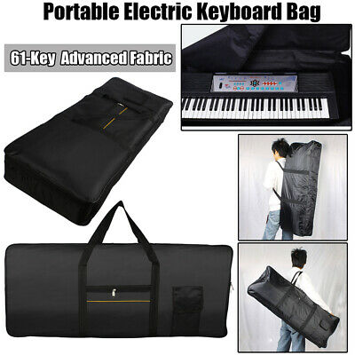 Portable 61Key Electric Piano Keyboard Padded Case Gig Bag Advanced Fabric Black