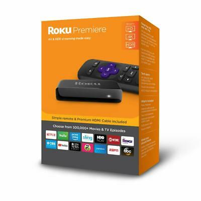 Roku Premiere Streaming Media Player For HD and 4K Ultra HD Tv's with Remote New