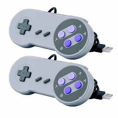 2 Pack Retro SNES USB Wired Classic Controller GamePad for Windows PC Purple