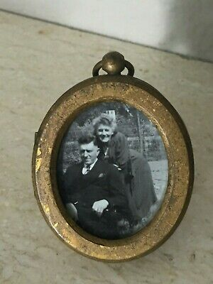 """Antique MV Brass? Copper?  Mini Photo Picture Standing Easel Frame 2.5"""" by 2"""""""