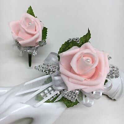 Pink Rose on White with Silver Trim  Wrist Corsage & Boutonniere Combo