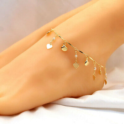 Anklet Foot Ankle Bracelet for Woman Gold Plated Infinity Love Chain Pearl Star