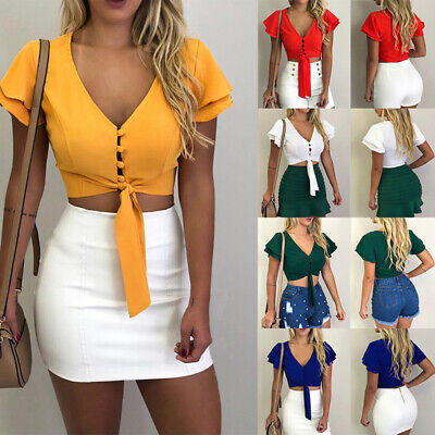 Women Tops Short Sleeve Cropped T-Shirt Blouse Lace Up V-neck Hollow Cami BS