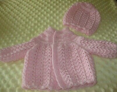 Knitted Baby Jacket & Beanie suitable 3 months plus  Pink