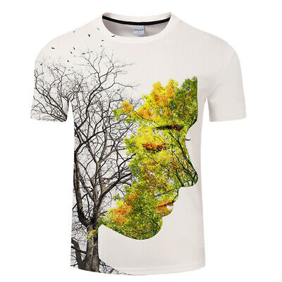 Hipster Women Men Casual T-Shirt 3D Print Beauty Tree Leaf Face Scenery Tee Tops