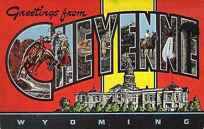 Linen Era,Large Letter, Greetings From Cheyenne, Wyoming, Kropp ,Old Postcard