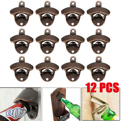 12× Vintage Rustic Cast Iron Wall Mount Mounted Beer Bottle Opener Soda Antique
