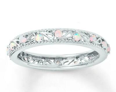 Fashion Women Round Cut White Fire Opal 925 Silver Gemstone Jewelry Ring Sz5-12