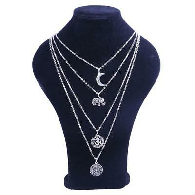 Multi-layer Crystal Moon Pendant Necklace Charm Party Jewelry Accessories LA