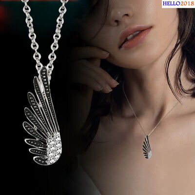 Antique Silver Plated Wing Decorate With Rhinestone Pendant Necklaces For Women
