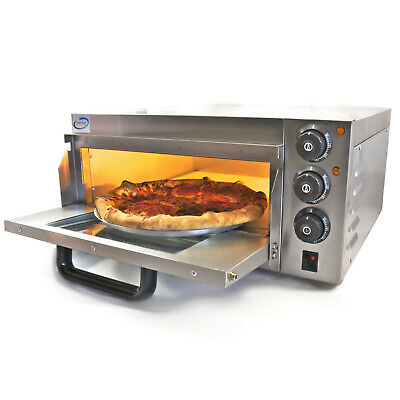 Chef-Hub Single Decker Stone Base Electric Commercial Pizza Oven 2Kw Uk Plug