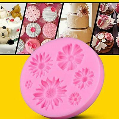 3D Flower Round Shaped Fondant Chocolate Molds Cake Tool Mould Silicone HC