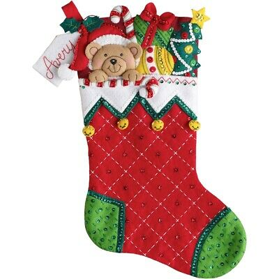 "Bucilla Felt Stocking Applique Kit 18"" Long-holiday Teddy"