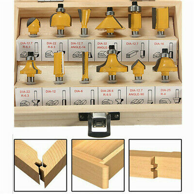 12X  1/4'' Professional Shank Tungsten Carbide Router Bit Set & Wood Box Case