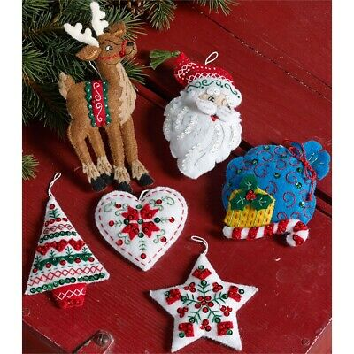 "Bucilla Felt Ornaments Felt Applique Kit 3.5""x4.5"" Set Of 6-nordic Santa"