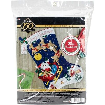 "Bucilla Felt Jumbo Stocking Applique Kit 28"" Long-christmas Night"