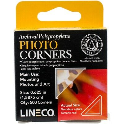 Lineco Polypropylene Photo Mounting Corners 500/pkg-clear .625""