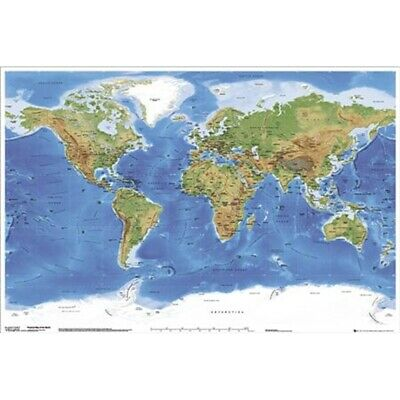Physical Map Of The World Maxi Poster - Planetary Visions New Earth