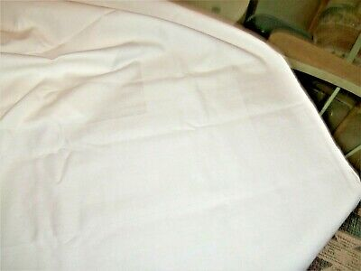 """60"""" x 62 WHITE WOVEN IN BORDER VINTAGE  TABLE CLOTH - SMALL HOLE"""