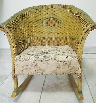 "ANTIQUE Vtg CHILD'S WICKER ROCKING CHAIR 21"" triangle design Green Yellow Cream"