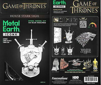 Game of Thrones House Stark Sigil Metal Earth ICONX 3D Steel Model Kit SEALED