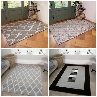Cheap Living Room Rugs Grey Budget Geometric Small Large Rugs Reduced Hearth Rug