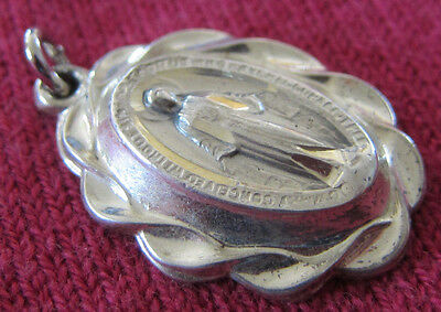 Vintage Catholic Religious Medal - STERLING - Miraculous - ORNATE  Scroll Design