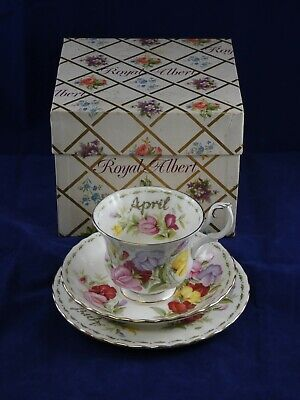 Royal Albert Flowers of the Month April Sweet Pea Trio Cup Saucer Plate Boxed
