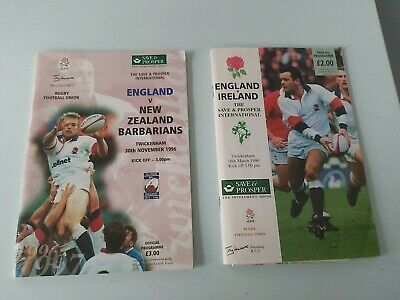 England v New Zealand BARBARIANS 1996 Rugby Programme & Ticket Stubbs.