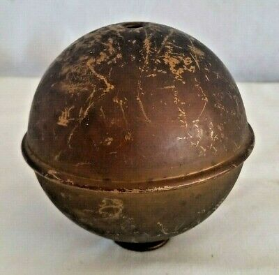 "Antique 1800's Copper Clad Cast Iron Weight Ball, 8.5 lbs, 4"" Diameter"
