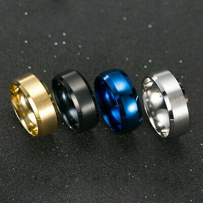 Black Silver Gold Blue 8mm Stainless Steel Band Ring Man Women Jewelry Size 6-14