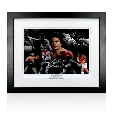 Framed Roberto Duran Signed Photo - Hands Of Stone Autograph