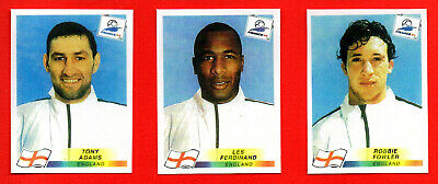 PANINI WC FRANCE 98 - 3 english players ADAMS, FOWLER, FERDINAND  - copy