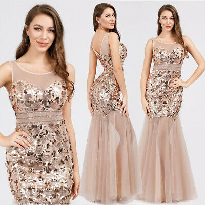 7f3348a31dec US Ever-Pretty Sequin Rose Gold Long Evening Party Dress Mermaid Ball Gown  07922