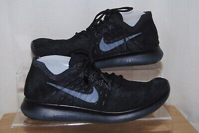 new style aa392 c86fa Nike Free RN Flyknit Mens Black   Grey Trainers Uk Size 8