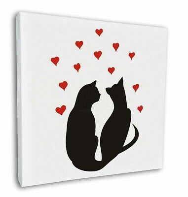 "Two Cat Silhouette with Hearts 12""x12"" Wall Art Canvas Decor, Pictur, AC-143-C12"