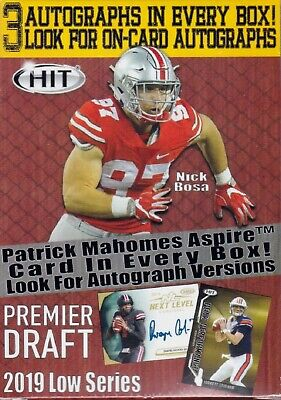 2019 Hit Premier Draft Low Series Football sealed blaster box 70 cards 3 auto
