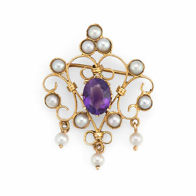 Vintage Amethyst Pearl Pendant 14k Yellow Gold Brooch Pin Estate Fine Jewelry