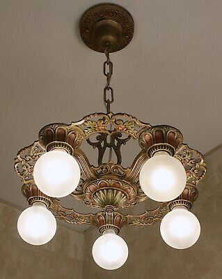 20's ART DECO VIRDEN Antique Vintage Ceiling Five Light Fixture CHANDELIER
