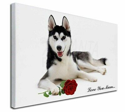 """Husky with Rose 'Love You Mum' 30""""x20"""" Wall Art Canvas, Extra , AD-H55Rlym-C3020"""
