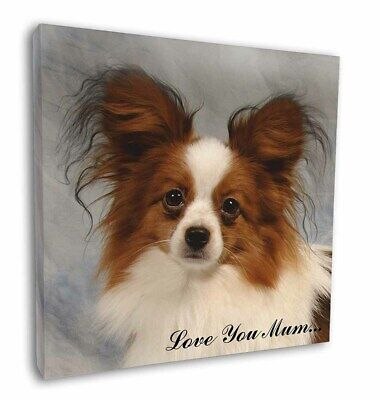 "Papillon Dog 'Love You Mum' 12""x12"" Wall Art Canvas Decor, Pictur, AD-PA1lym-C12"