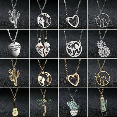 Charm Hollow Round Heart Plant Map Enamel Necklaces Pendant Women Jewelry Gift